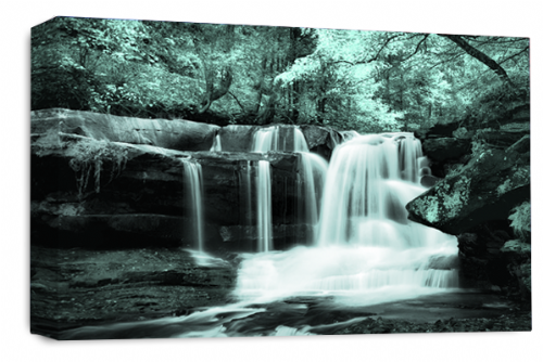 Waterfall Landscape Wall Art Duck Egg Grey White Canvas Forrest Picture
